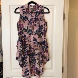 Hi-low button front blouse